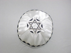 Satin Agam Star Kippah - White mca7
