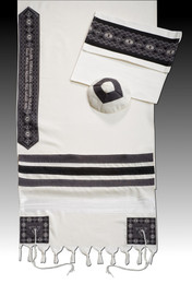 "Argaman Tallis ""David"" Black/Grey Tallit Set"
