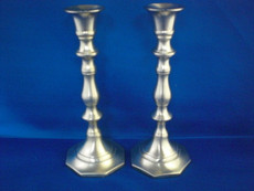 Traditional Pewter Candlesticks