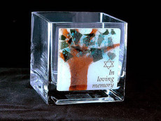 "Beames Designs Glass ""Tree of Life"" Yahrzeit Candle Holder"