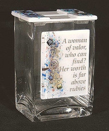 Beames Designs Fused Glass Woman of Valor Tzedakah Box
