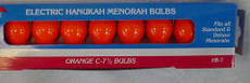 Traditional Orange Chanukah Menorah Bulbs