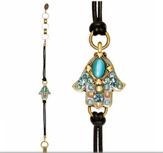 Michal Golan Aqua Cat's Eye Hamsa Bracelet