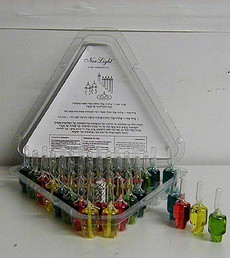 Multi-color Pre-filled Chanukah Menorah Oil