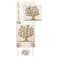 Emanuel Raw Silk Machine Embroidered Tree Of Life Tallit Set -Brown & Green