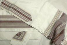 Gabrieli Silk White Background Tallit Set 3
