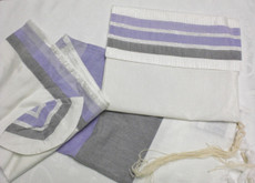 Gabrieli Silk White Background with Varigated Purple Tallit Set