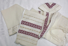 Gabrieli Maroon and Gold Wool Tallit Set