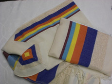 Gabrieli Wool Tallit Set with Multicolor Stripes