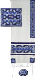 Blue Stars Of David Rainbow Embroidered Tallit Set