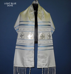 Ziontalis Light Blue and Silver Doves Tallit
