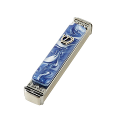 Baskin Art Glass Marbled Blue & White Mezuzah