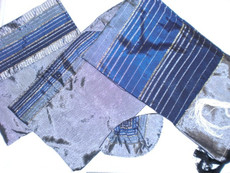 Gabrieli Silk Teal, Royal & Navy Blue, Silver Striped Tallit Set