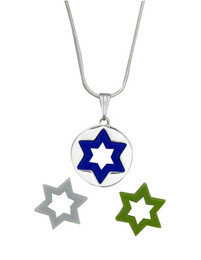 Stainless Steel Pendant With Interchangeable Colorful Stars Of David