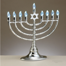 Silvertone Plastic Menorah with LED bulbs