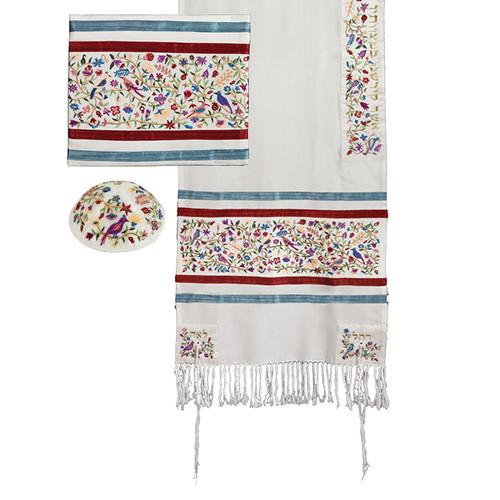 "Emanuel Embroidered ""Garden Of Eden"" Multi-Color Matriarchs Tallit Set"