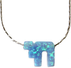 Opal Blue Chai With Sterling Silver Chain