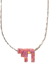 Opal Pink Chai With Sterling Silver Chain