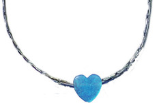 Opal Blue Heart With Sterling Silver Chain