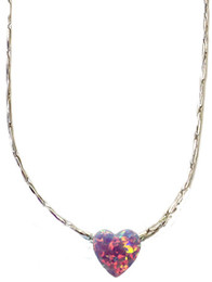 Opal Purple Heart With Sterling Silver Chain