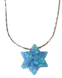Opal Blue Star Of David With Sterling Silver Chain