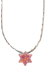 Opal Pink Star Of David With Sterling Silver Chain