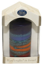 Safed Pillar Havdalah Candle - Rainbow Blue