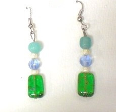 Fused Glass Pierced Earrings 12