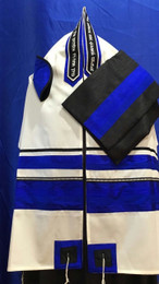 Michal Electric Blue, Black & Silver Tallit Set