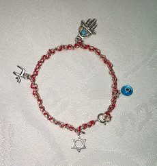 Kabbalah Red Thread with Sterling Bracelet and Multi Charms