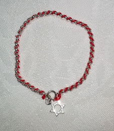 Kabbalah Red Thread with Sterling Bracelet and Star of David Charm