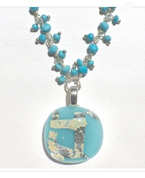 Turquoise Cabochon with Dangling Bead Necklace by Sara Fern