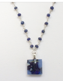 Tiny Blue Stone Necklace with Lapis Bead Chain by Sara Fern