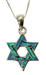 Opal and Sterling Star Of David Necklace