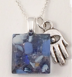 Tiny Blue Stone Fused Glass Necklace with Hamsa by Sara Fern