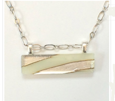 Cream Fused Glass Horizontal Necklace by Sara Fern