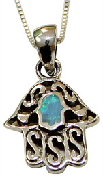 Hand In Hand Sterling Silver and Opal Hamsa