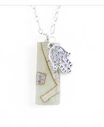 Vertical Cream Fused Glass Necklace with Hamsa by Sara Fern\