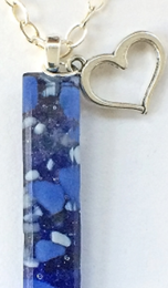 Stone Blue Fused Glass Vertical Necklace With Heart Charm by Sara Fern