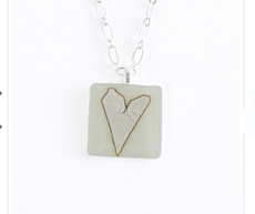 Cream Fused Glass Heart Necklace by Sara Fern