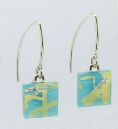 Turquoise Fused Glass Small Angled Earrings by Sara Fern