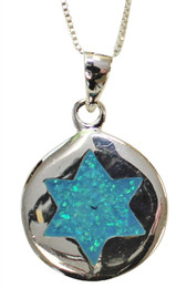 Round Sterling Silver With Opal Star of David Center