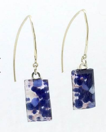 Stone Blue Fused Glass Large Angled Earrings by Sara Fern