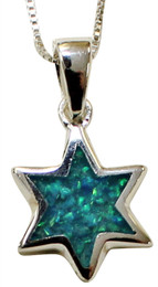 Sterling Silver and Opal Star Of David Necklace