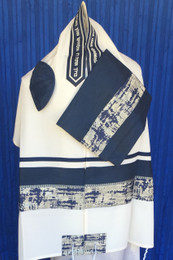 Kotel Motif in Navy and Silver