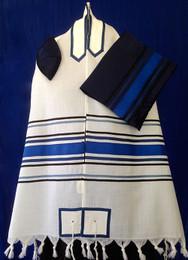 Michal Three-Toned Blue and Black Stripe Tallit Set