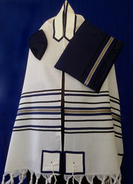 Navy, Black and Silver Stripes