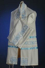 Michal Brushed Cotton Floral Tallit Set - Light Blue