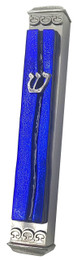 "Baskin Art Glass ""Parting of the Sea"" Ice Blue Mezuzah"