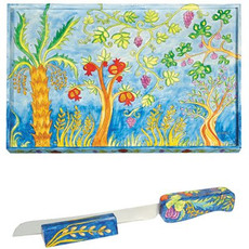Yair Emanuel Seven Species Challah Board and Matching Knife